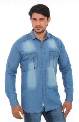 Mabho Men's Solid Casual Blue Shirt