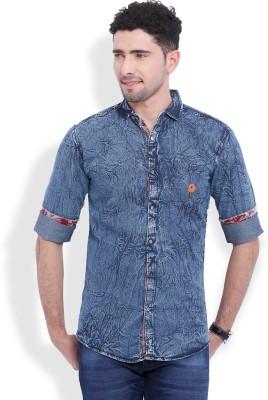 Vintage Men's Solid Casual Denim Dark Blue Shirt