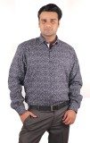 Riparv Men's Printed Casual Blue Shirt