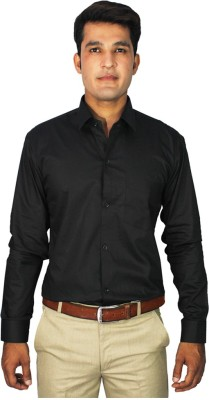 China Collection Men's Solid Formal Black Shirt