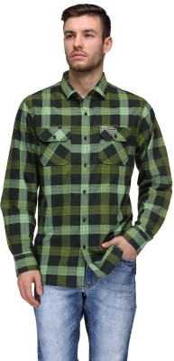 Canary London Men's Checkered Casual Green Shirt