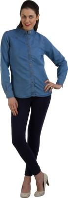 GUDS Women's Solid Casual Denim Blue Shirt