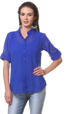 Meee Women,s Solid Casual Blue Shirt
