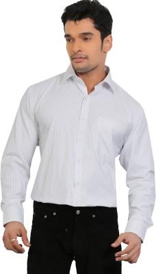 A & C Signature Men's Striped Formal White Shirt