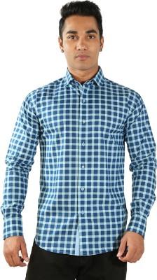 Just Differ Men's Checkered Formal Light Blue Shirt