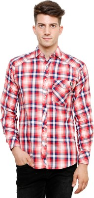 Ebry Men's Checkered Casual Red Shirt