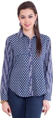 Tuntuk Women's Printed Casual Blue Shirt