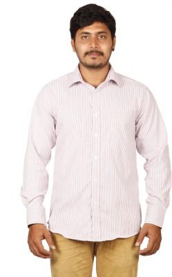 BlackBird Men's Striped Formal Pink, White Shirt
