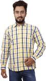 Gustrow Men's Checkered Casual Yellow Sh...