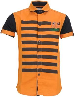Font Kids Boy's Solid Casual Orange Shirt