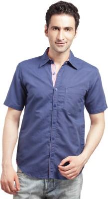Cross Creek Men's Solid Casual Blue Shirt