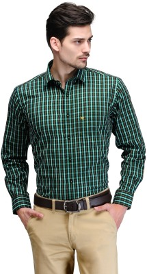 Club Morocco Men's Checkered Formal Green Shirt