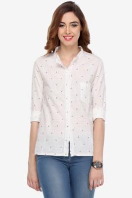 Varanga Women's Printed Party White Shirt