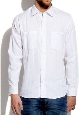 Roar and Growl Men,s Striped Casual White Shirt