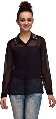 IRACC Women's Embellished Casual Black Shirt