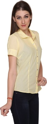 Miss Rich Women's Striped Casual Yellow Shirt