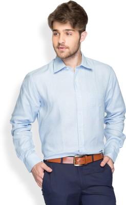 Color Plus Men's Solid Casual Linen Blue Shirt