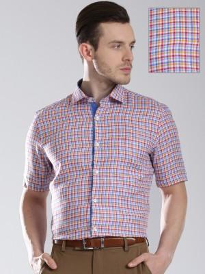 Invictus Men's Checkered Formal Linen White Shirt