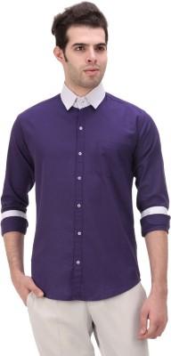 American Buck Men's Solid Casual Purple Shirt