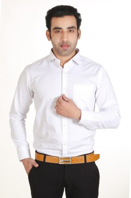 Adventure Men's Solid Formal White Shirt