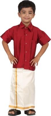 APR Brand Boy's Solid Wedding Maroon Shirt