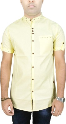 Kuons Avenue Men's Solid, Printed Casual Yellow Shirt