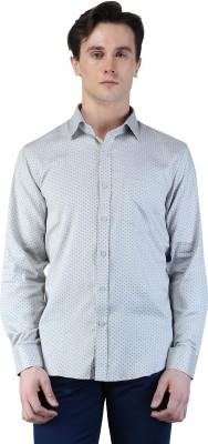 Magnoguy Men's Polka Print Casual Grey Shirt