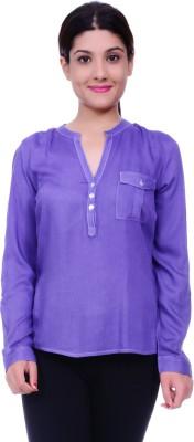 Lamora Women's Solid Casual Blue Shirt