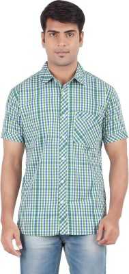 Anytime Men's Checkered Casual Dark Green, White Shirt