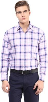 The Vanca Men's Checkered Formal Pink Shirt