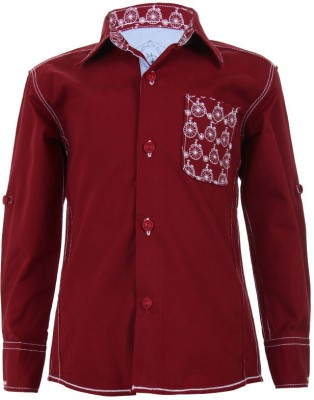 Biker Boys Boy's Printed Casual Maroon Shirt