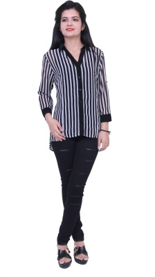 Paris Plush Women's Striped Casual Black Shirt