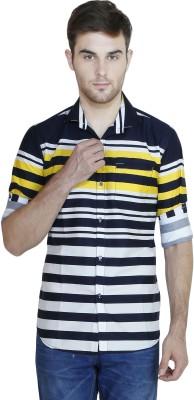 Human Steps Men's Striped Casual Yellow Shirt
