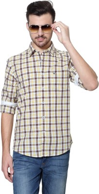 Allen Solly Men's Checkered Casual Yellow Shirt