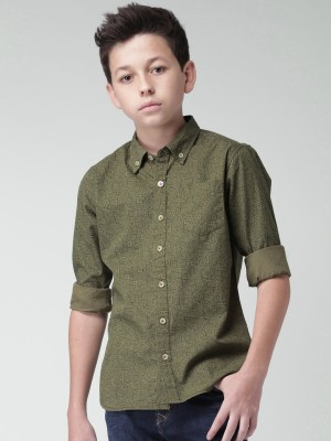 WROGN for Tweens Boy's Printed Casual Green Shirt