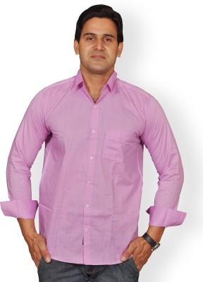 Mc-John Men's Solid Formal Purple Shirt