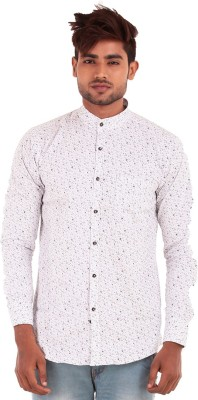 The G Street Men's Printed Casual White Shirt