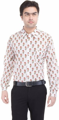 Angels Choice Men's Floral Print Casual White Shirt