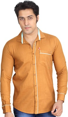 Private Image Men's Solid Casual, Party Gold Shirt