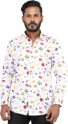 Piazza Italya Men's Floral Print Casual White, Multicolor Shirt