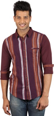 Le Tailor Men's Striped Casual Maroon, Brown Shirt