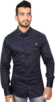 Beardo Men's Printed Casual, Party, Wedding Dark Blue Shirt