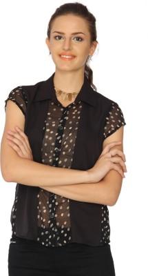 IDENTITI Women's Polka Print Casual Black Shirt