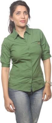 Spykar Women's Solid Casual Green Shirt