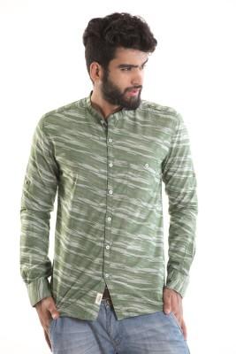 Kart & Kriss Men's Self Design Party Green Shirt