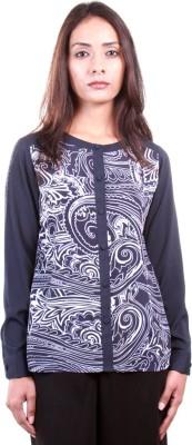 AR2 Women's Printed Formal Blue Shirt