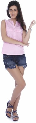 Miss Pink Women's Solid Casual Pink Shirt