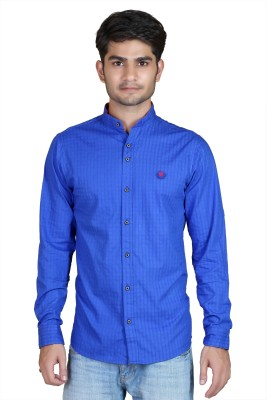 Playfox Men's Checkered Casual Blue Shirt