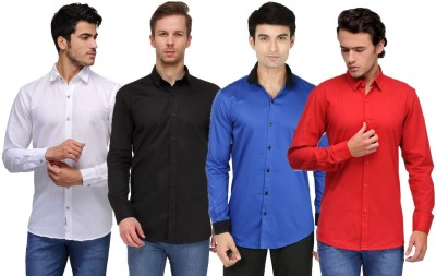 Feed Up Men's Solid Casual White, Black, Blue, Red Shirt