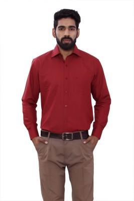 ALLANZO Men's Solid Formal Reversible Maroon Shirt